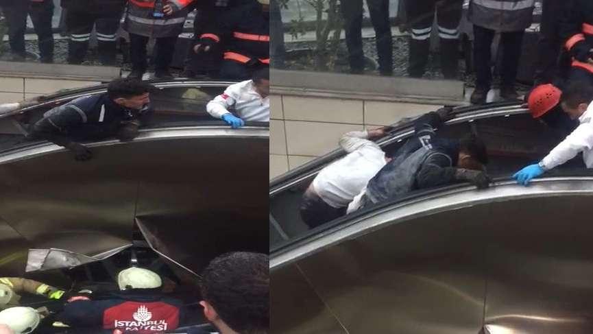 Merdiven çöktü içine düştü! İstanbul metrosunda korkunç olay