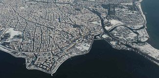 Havadan karlı İstanbul