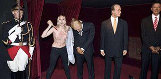 FEMEN Putin'in heykelini devirdi