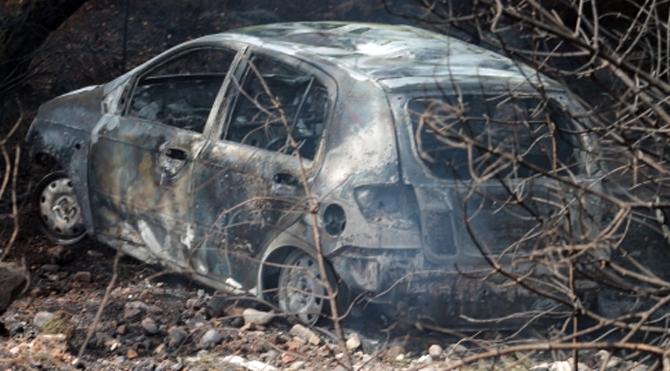 Kaza yapan otomobil ormanı yaktı!