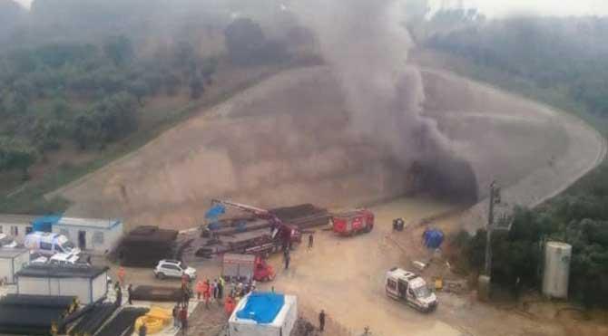 YHT inşaatındaki tünelde yangın