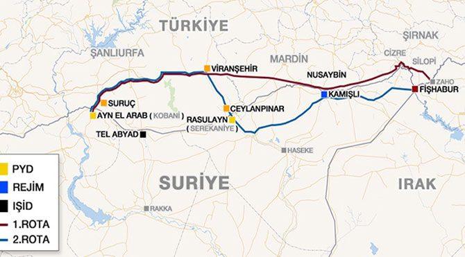 Peşmergenin Kobani'ye olası geçiş rotaları