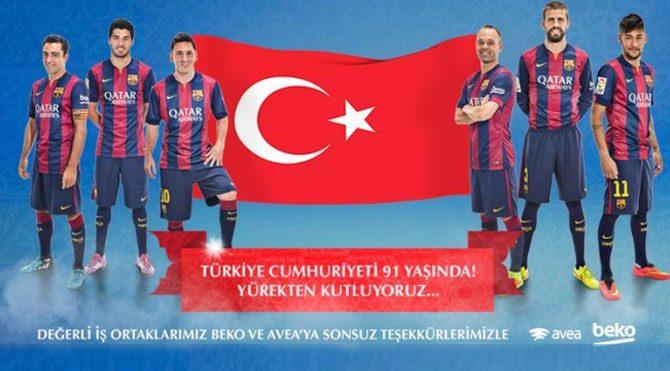 Barcelona'dan Cumhuriyet mesajı!