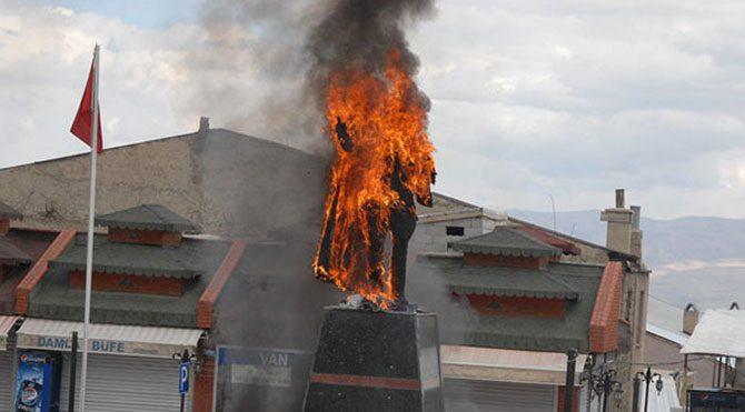 PKK'lıların hedefi Atatürk heykelleri
