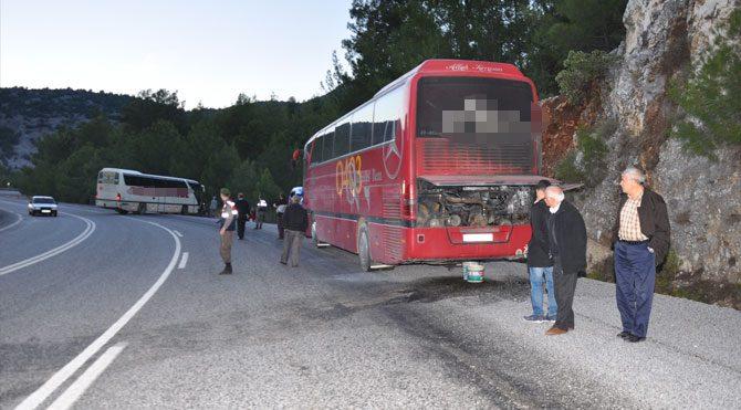 Yolcu otobüsünde yangın!