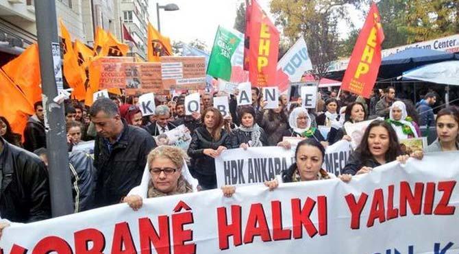 Başkent'te Kobani eylemi olaysız bitti
