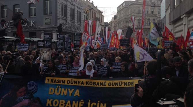 Beyoğlu'nda 'Kobani' yürüyüşü