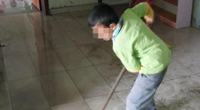 Temizliği öğrenciler yapıyor!