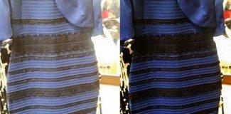 Bu elbise beyaz-altin renkte mi mavi-siyah mı