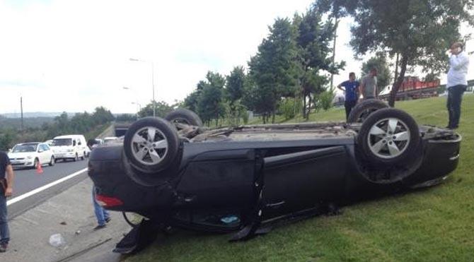 TEM bağlantı yolunda kaza