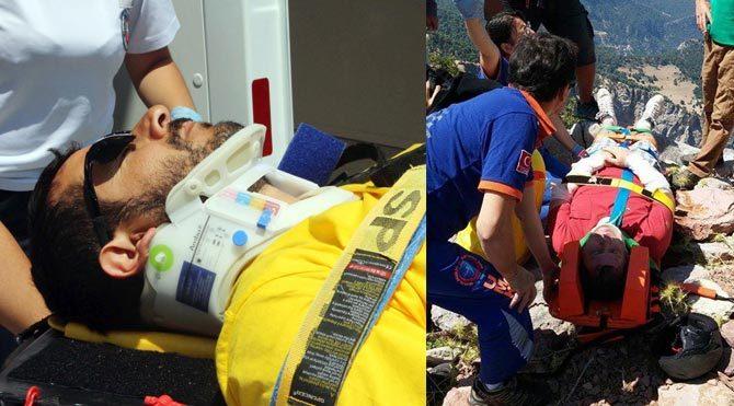 Paraşütle 30 metreden yere çakıldılar