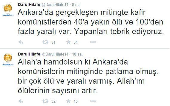 IŞİD'ci hesaptan 'Ankara' açıklaması
