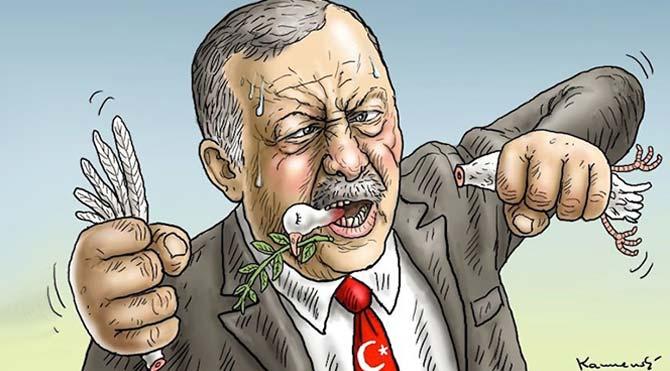 Alman karikatürist Erdoğan'ı 'barışı yok eden lider' olarak resmetti