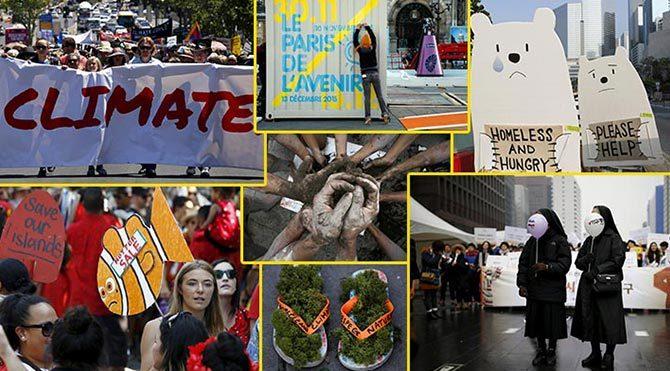 İklim Zirvesi öncesinde dünya çapında protestolar düzenleniyor