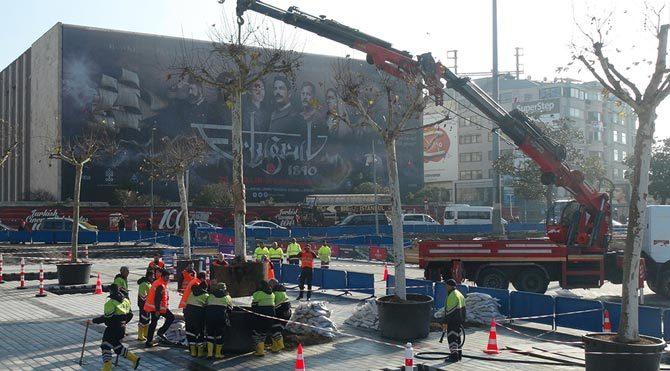 Taksim Meydanı'na 6 ağaç!
