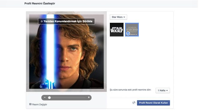 Facebook'tan Star Wars güncellemesi