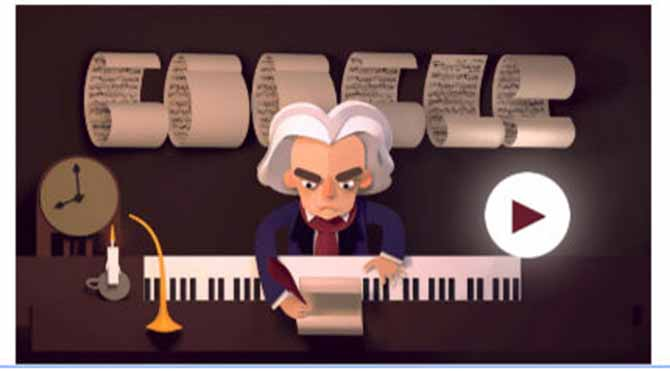 Google, Beethoven'ın 245. doğum gününü unutmadı