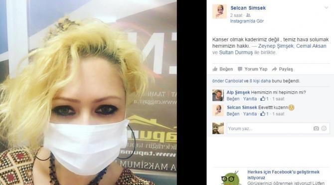 Facebook`ta hava kirliliğine karşı maskeli eylem