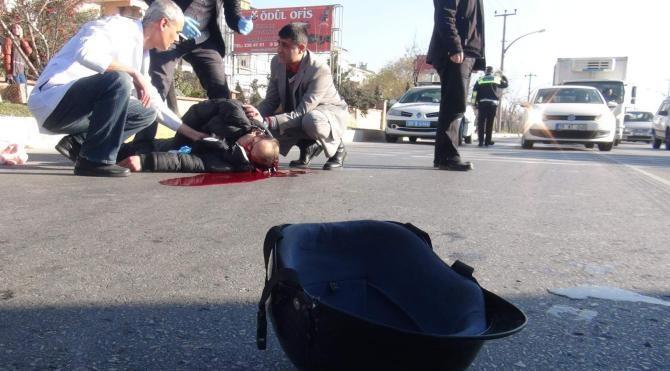 Yaya şeridinden motosikletiyle geçmek isterken otomobil çarpması sonucu öldü