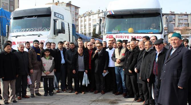 Sivas`tan Bayırbucak Türkmenleri`ne 5 TIR yardım