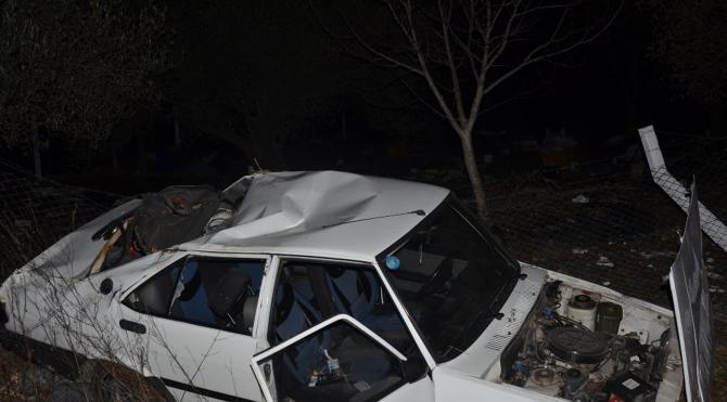 Domuza çarpan otomobil takla attı: 3 yaralı