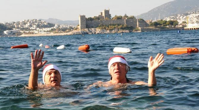 Yeni yılı denizde kutladılar