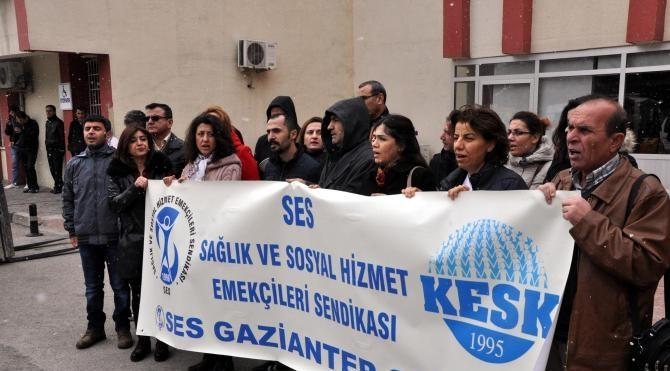 Gaziantep`te sağlık çalışanlarından protesto
