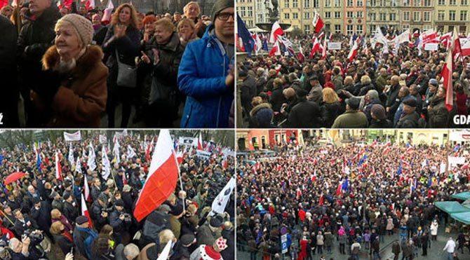 Polonyalılar sokaklara döküldü!