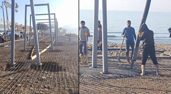 Belediye plaja beton döktü!