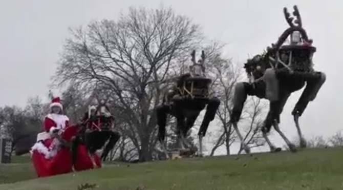 Robot köpekler Noel Baba'nın kızağını çekti