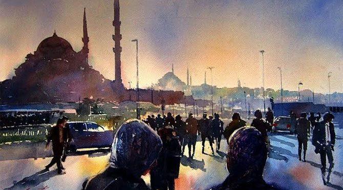 Suluboya fırçasından İstanbul