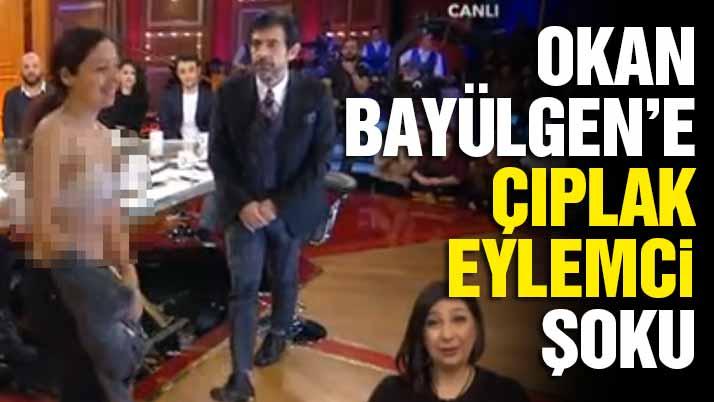 Okan Bayülgen'in programında çıplak eylem girişimi