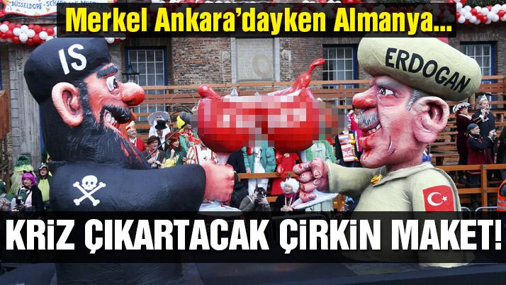 Almanya'daki festivalde çirkin Erdoğan maketi!