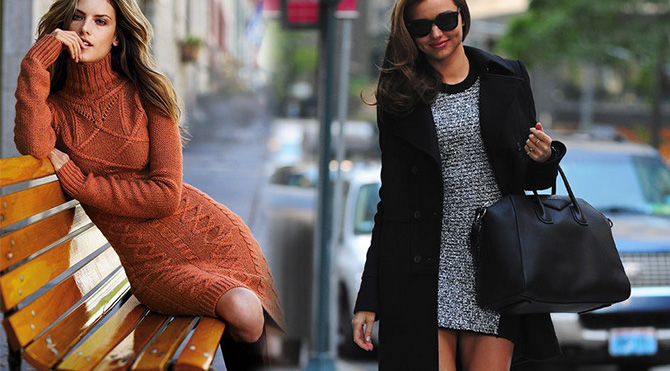 Sokak modasında yün elbise zamanı