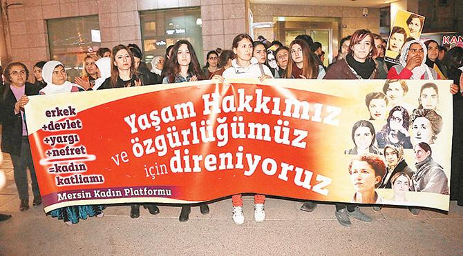 Mersin'de kadın protestosu