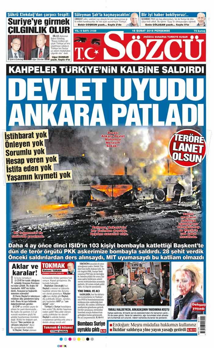 Ankara Daki Hain Saldırı Gazete Manşetlerinde Son Dakika