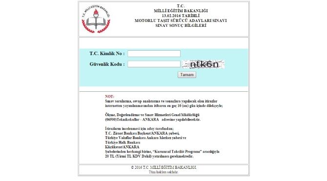 13 Şubat ehliyet sınav sonu231ları mtsks1 ehliyet sınav