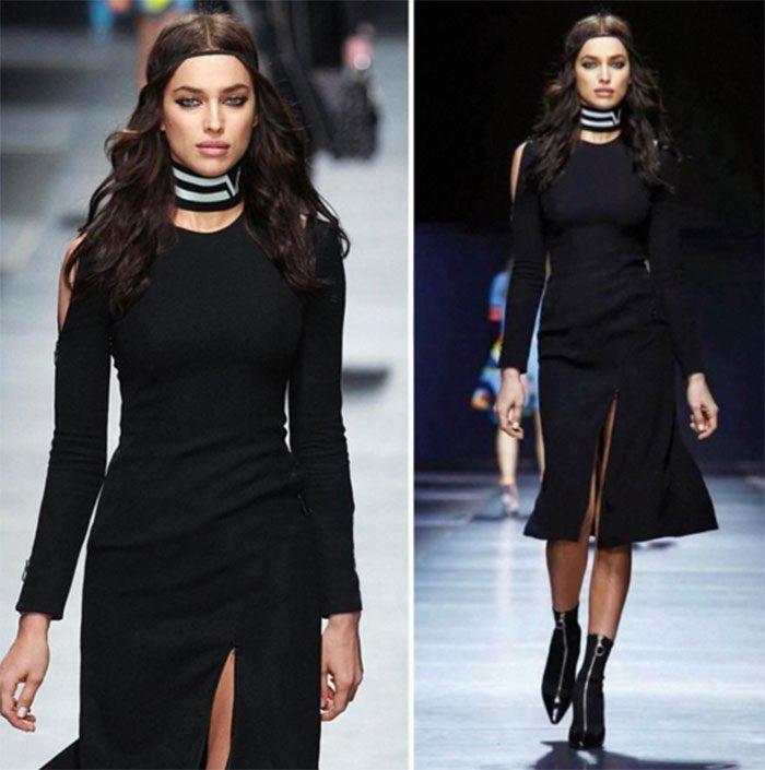 Irina Shayk Milan Moda Haftası'nda Versace defilesinde...