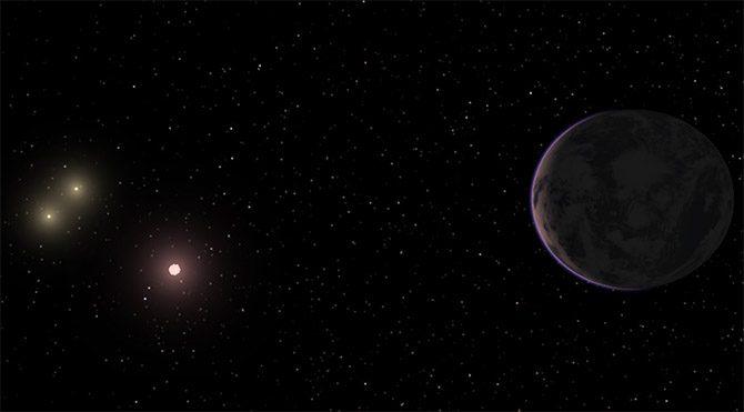 Aşırı sıcak yüzeyiyle bir gaz devi olan KELT-4Ab, şimdiye kadar gözlemlenen dördüncü üç güneşli gezegen. KELT-4Ab'nin gökyüzünde KELT-4A, B ve C yıldızları parlıyor.