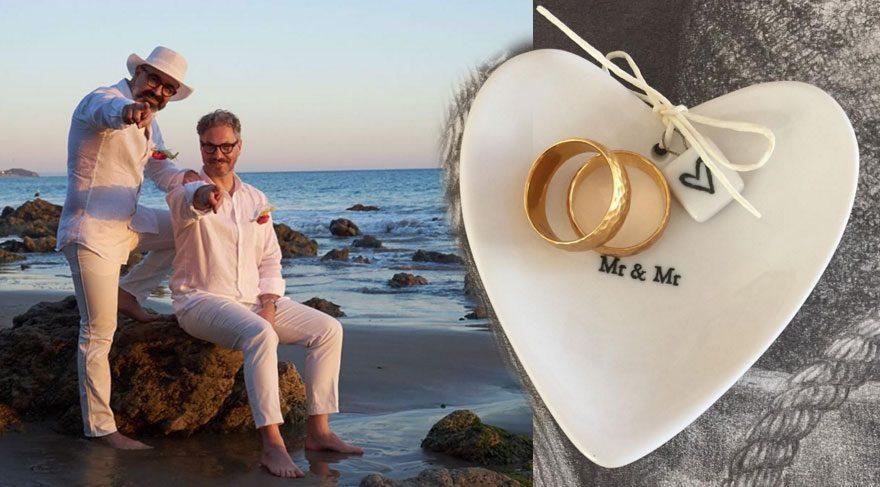 Caner Alper ile Mehmet Binay Malibu'da evlendi