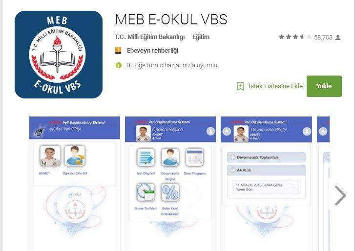 e-okul mobil uygulaması
