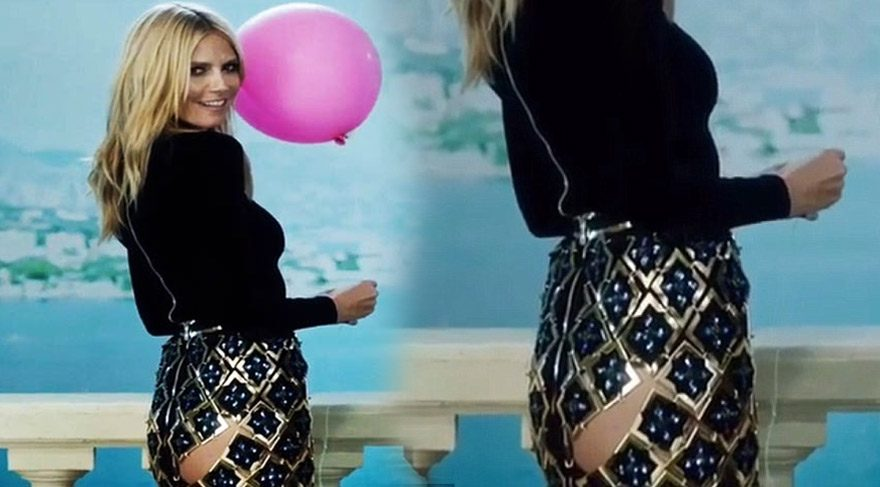 Heidi Klum'den 'popo' dekolteli etek