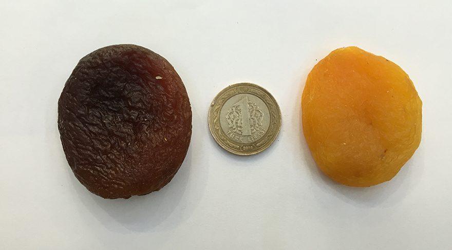 """Soldaki gördüğünüz kayısı """"esmer gün kurusu kayısı"""" sağdaki ise rengini koruyabilmesi için kükürt kullanılan kurutulmuş kayısıdır."""