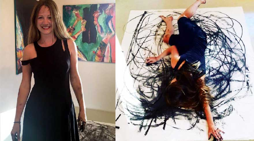 Avustralyalı ressam vücuduyla tablo yaptı