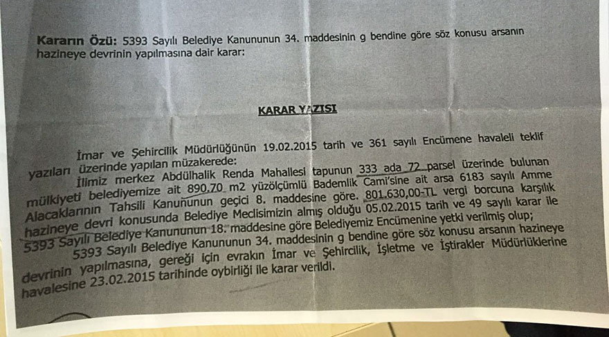 KARAR OYBİRLİĞİYLE ALINDI... İşte, Bademlik Cami'nin bulunduğu arsanın Hazine'ye devredilmesiyle ilgili 23 Şubat 2015'te oybirliğiyle alınan karar.