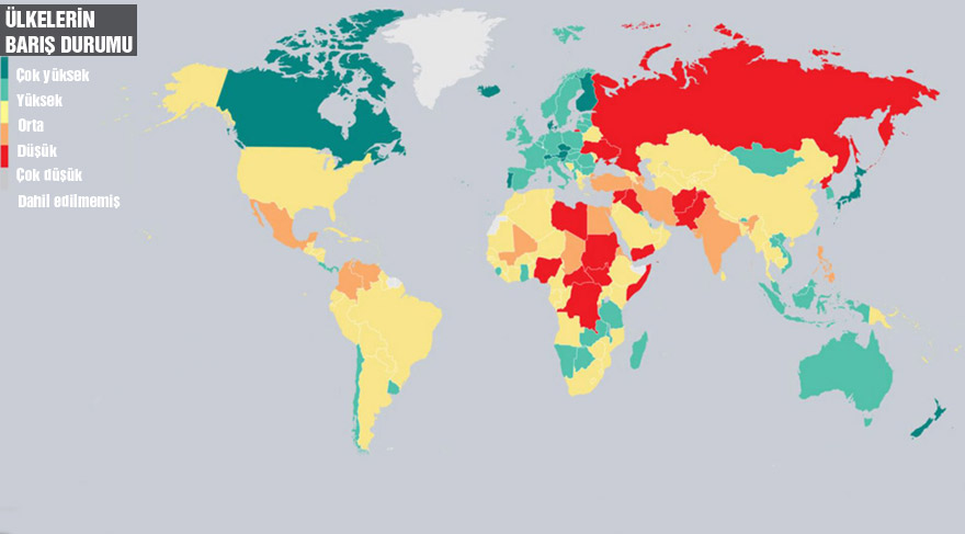'Küresel Barış Endeksi 2016' yayınlandı: Türkiye 145'inci