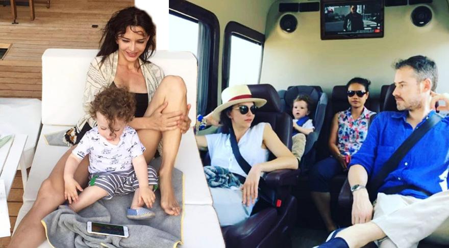 Hande Ataizi eşi ve oğluyla tatilde