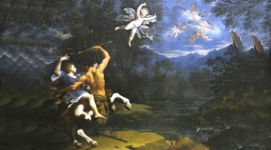 Kiron; Satürn ile su perisi Philyra'nın çocuğudur. Vücudunun yarı at yarı insan olması nedeniyle annesi gözünde bir canavar olarak kabul edilen Kiron, annesi tarafından terkedilmiştir.