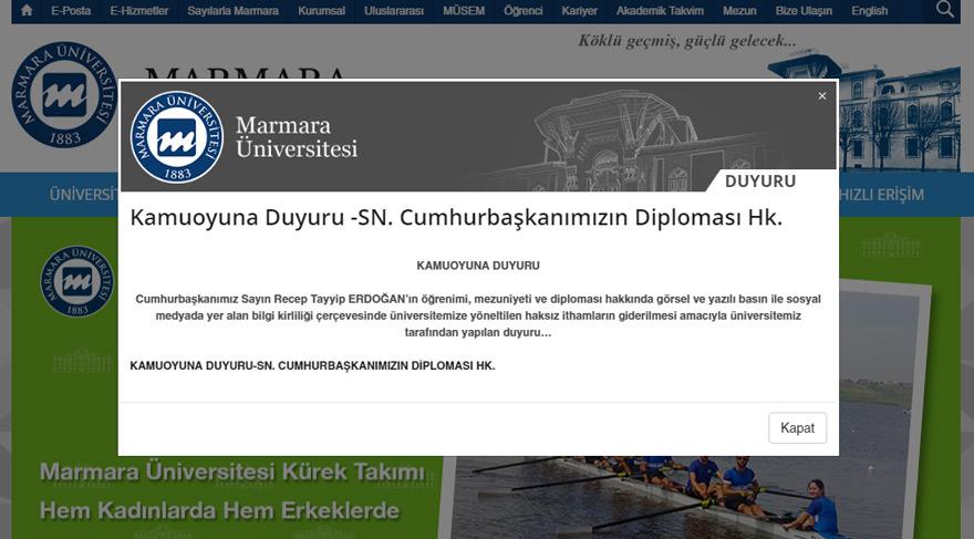 Marmara Üniversitesi resmi sitesinde Erdoğan'ın diploması ile ilgili açıklama için özel sayfa hazırlanmış