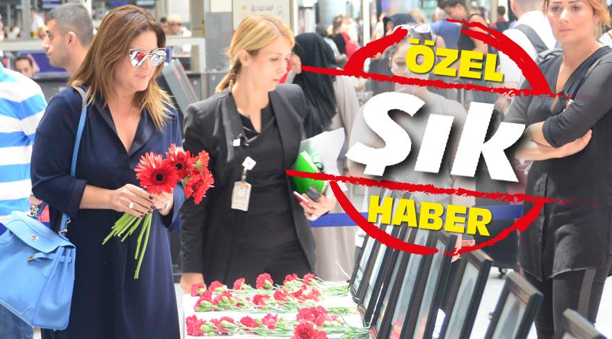 Sibel Can Atatürk Havalimanı'ndaki anma alanına karanfil bıraktı, gözyaşlarına hakim olamadı